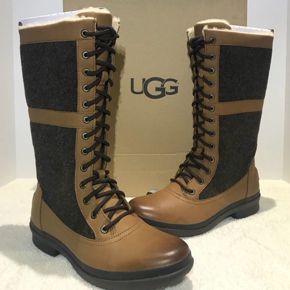 b26f7ce3461 UGG Elvia Tall Boots Women LaceUp Chestnut 1018473 NWT